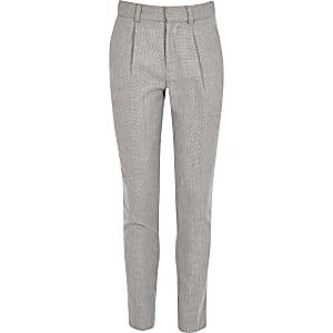 Graue, strukturierte Anzughose für Jungen mit zulaufendem Hosenbein