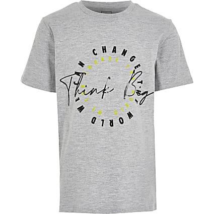Boys grey 'Think Big' T-shirt