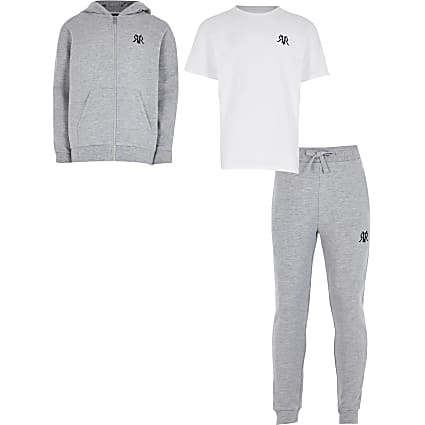 Boys grey three piece tracksuit