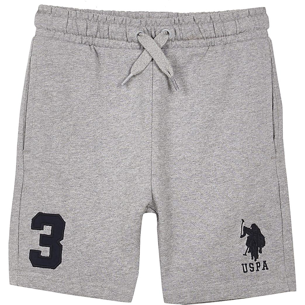 Boys grey USPA jogger shorts