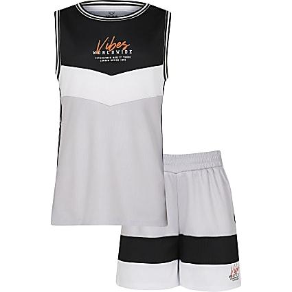 Boys grey 'Vibes' mesh vest and shorts set