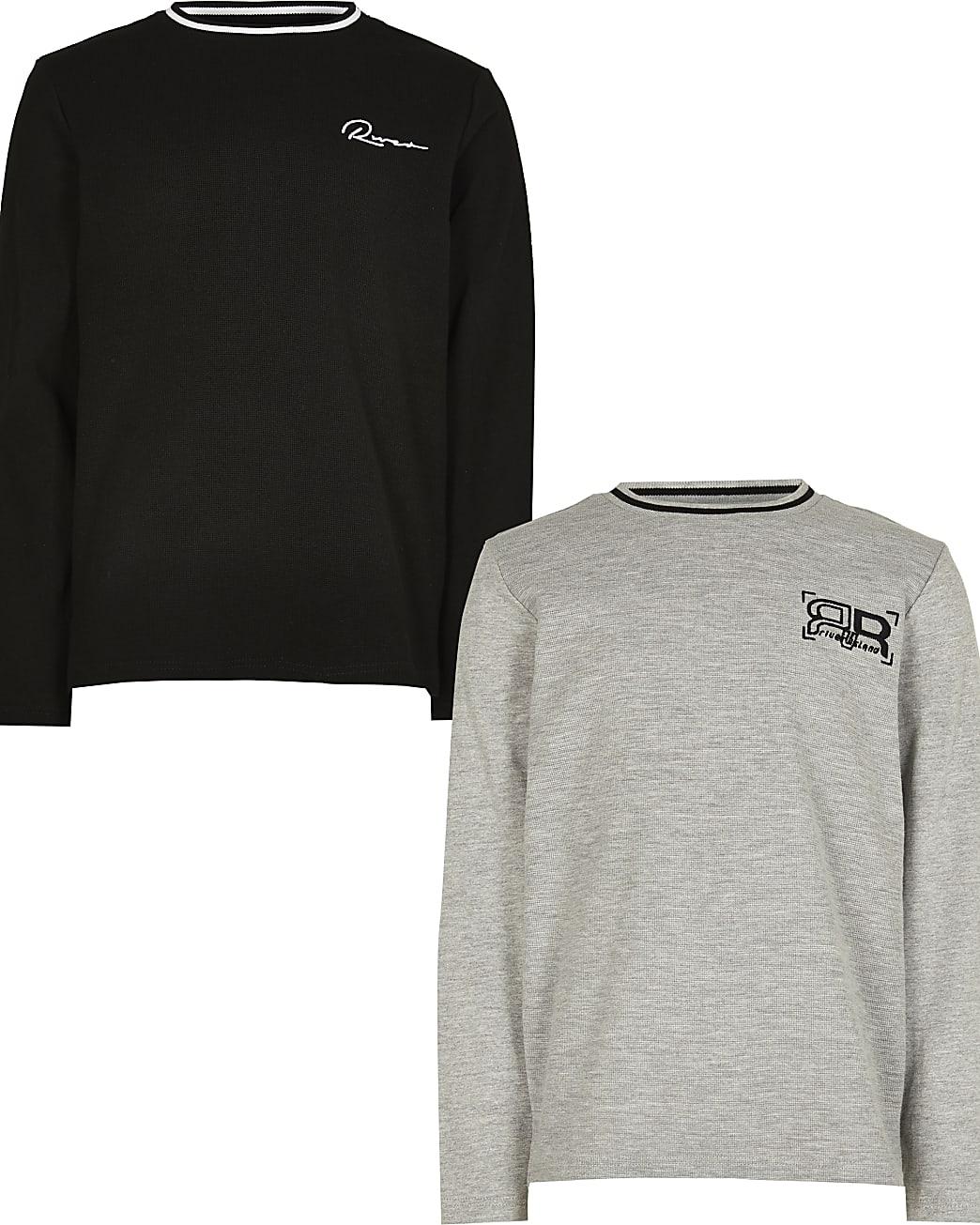 Boys grey waffle long sleeve tops 2 pack