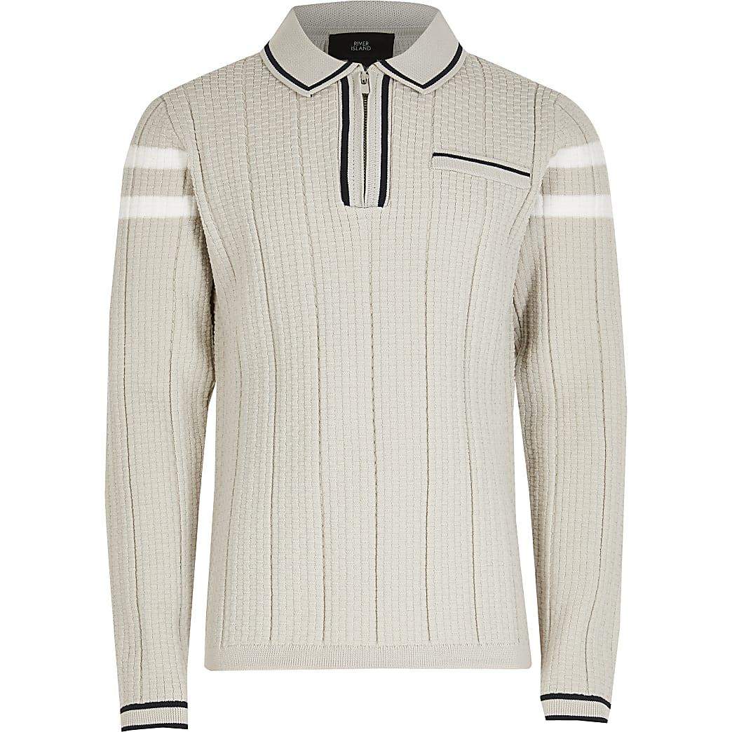 Boys grey waffle stripe polo shirt