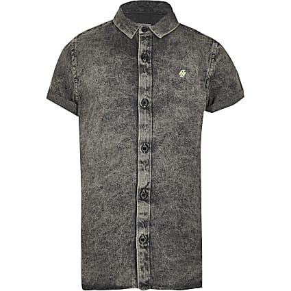 Boys grey washed denim shirt