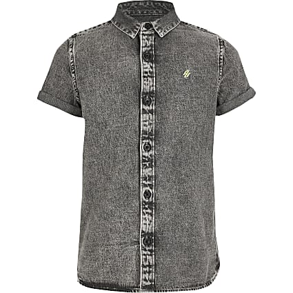 Boys grey washed denim shirt