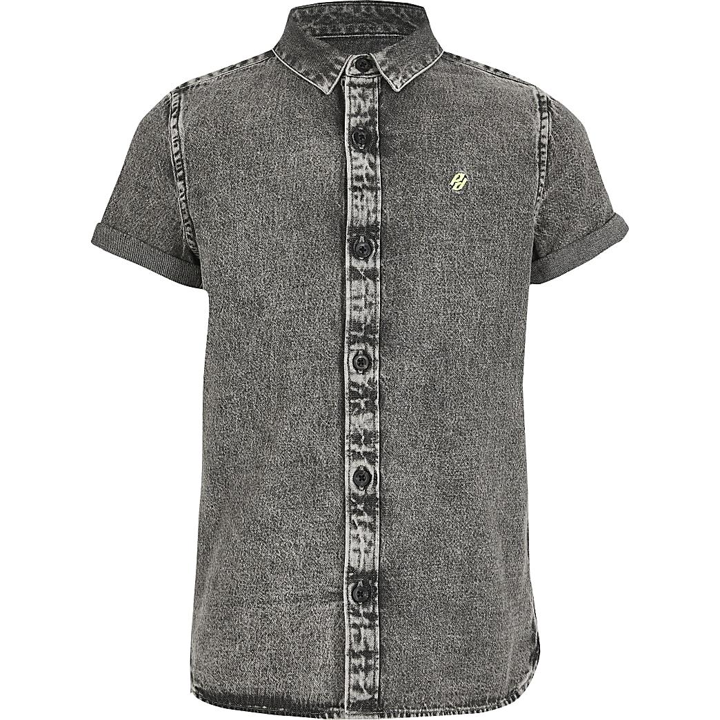 Grijs washed denim overhemd voor jongens