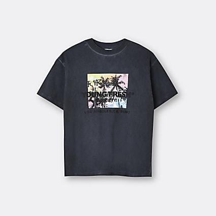 Boys grey washed palm print t-shirt