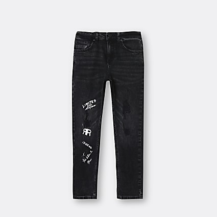 Boys grey washed skinny jeans