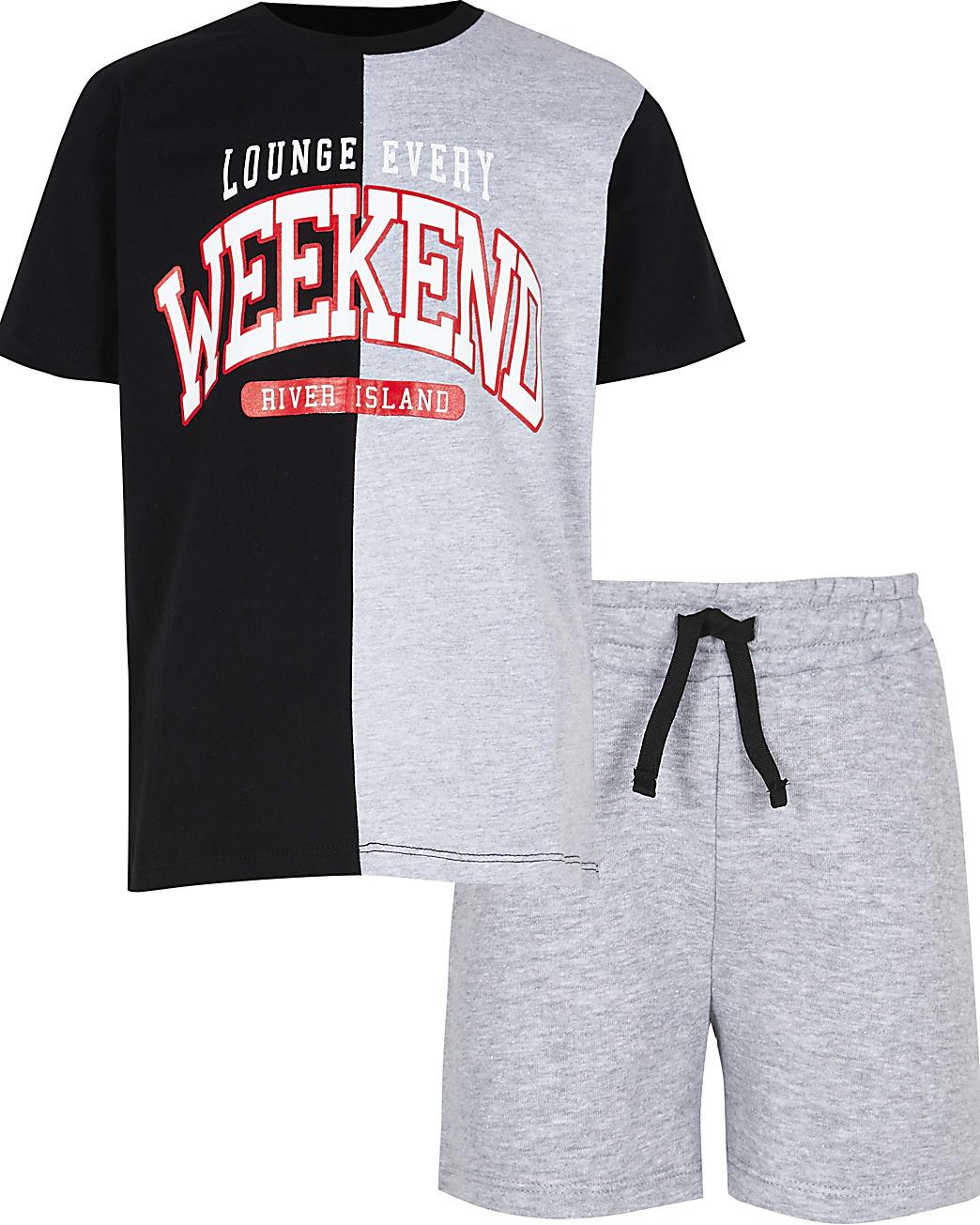 Boys grey 'Weekend' pyjama set