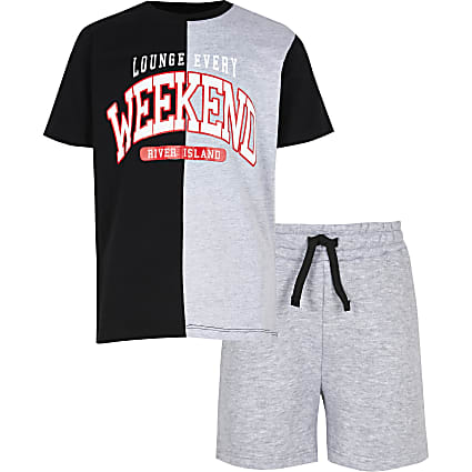 Boys grey 'Weekend' pyjama set