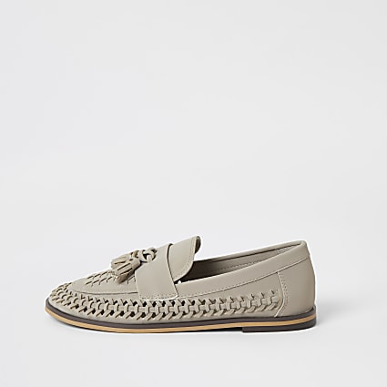Boys grey woven tassel loafers