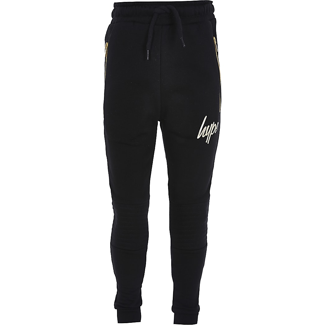 Boys Hype black biker joggers