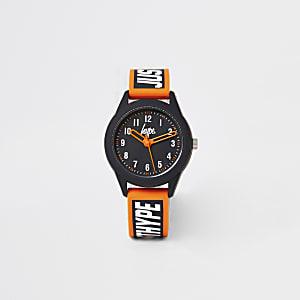 Hype – Schwarze Armbanduhr mit poppiger Farbe für Jungen