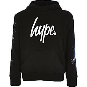 Hype – Sweat à capuche imprimé éclair noir pour garçon