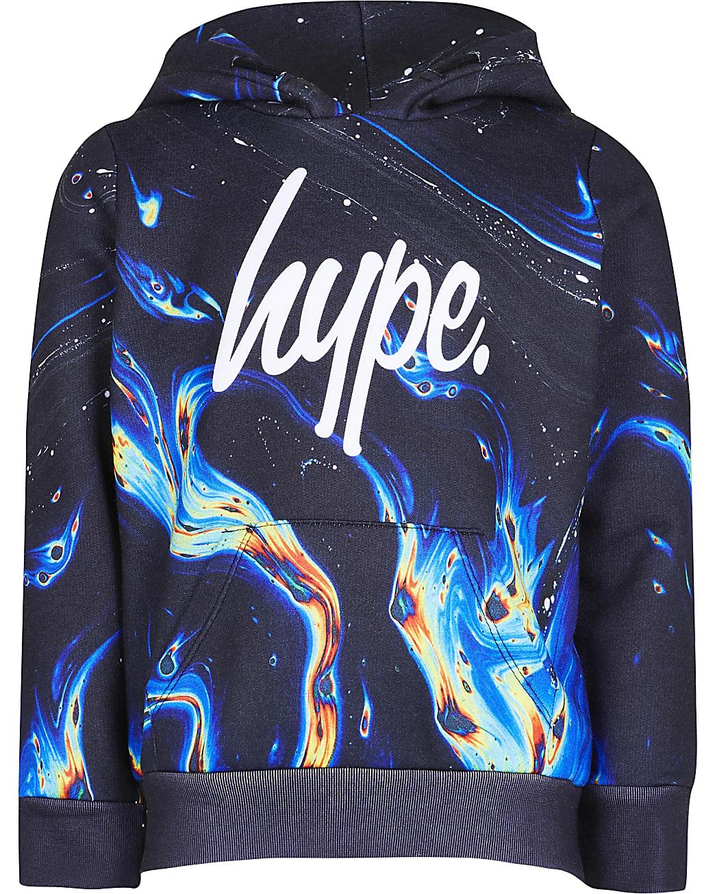 Boys Hype black rainbow marble hoodie