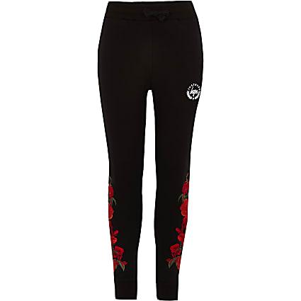 Boys Hype black rose thorn print jogger