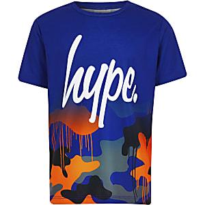 Boys Hype blue camo fade T-shirt