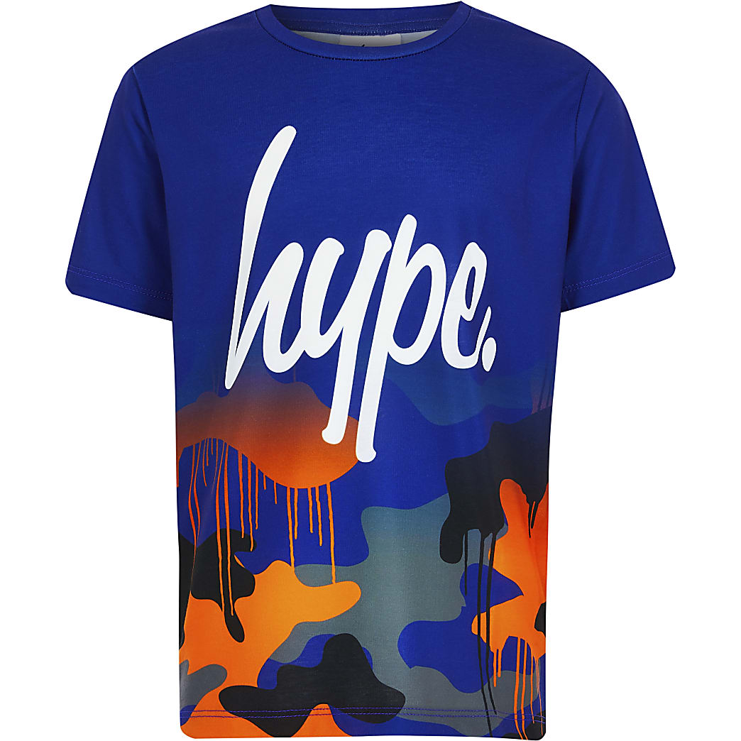 Boys Hype blue camo fade T-shirt