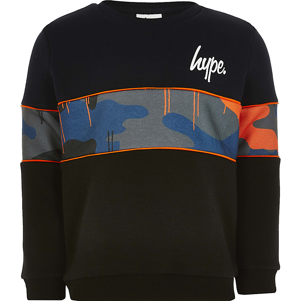Boys Hype navy panel sweatshirt