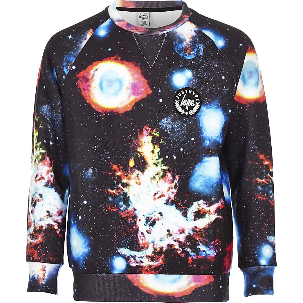 Hype - Marineblauwe sweatertop met ruimteprint voor jongens