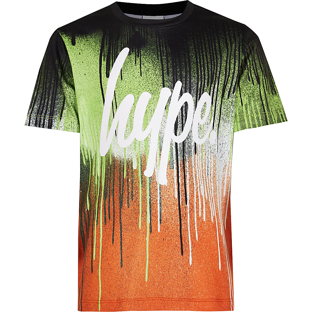 Boys Hype orange paint drip t-shirt