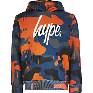 Hype - Oranje hoodie met kleurenprint voor jongens