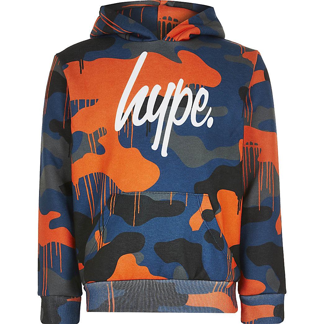Boys Hype orange script hoodie