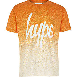 Hype - Oranje T-shirt met vervaagde spikkelprint voor jongens
