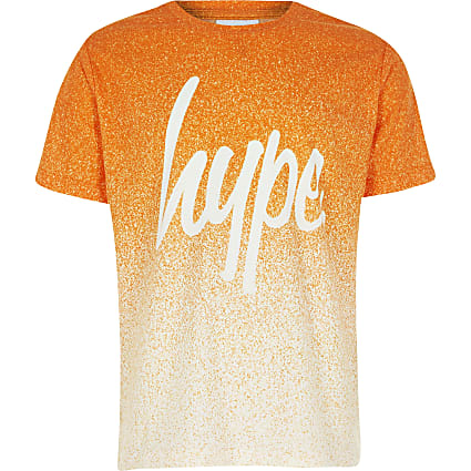Boys Hype orange speckle fade T-shirt