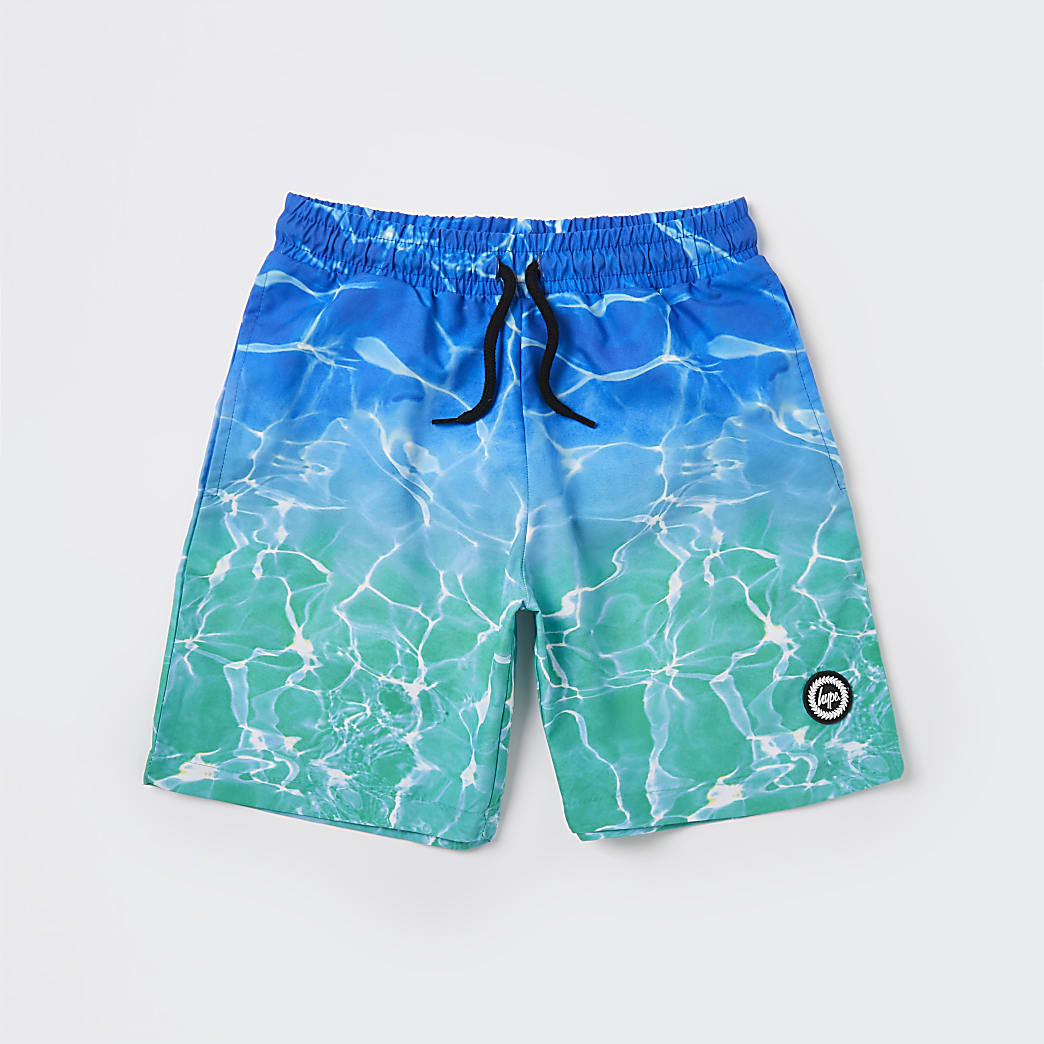 Boys Hype turquoise pool fade shorts
