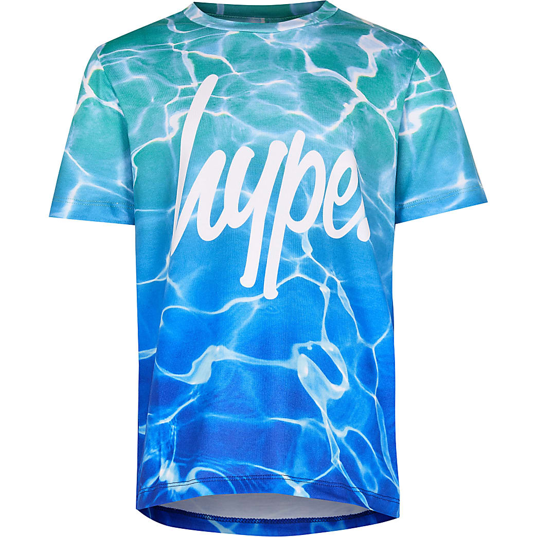 Boys Hype turquoise pool fade t-shirt