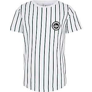 Hype – T-shirt imprimé à rayures blanc pour garçon