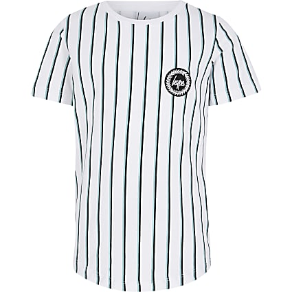 Boys Hype white stripe printed T-shirt