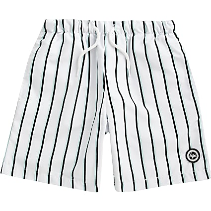 Boys Hype white stripe swim shorts