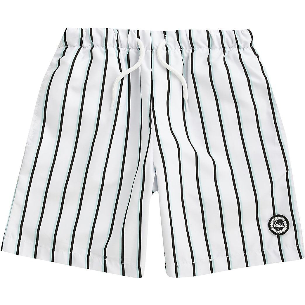 Hype - Witte gestreepte zwem shorts voor jongens