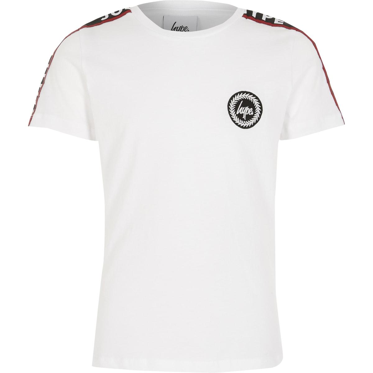 Hype - Wit T-shirt met bies op korte mouwen voor jongens