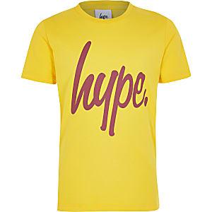 Hype – Bedrucktes T-Shirt in Gelb für Jungen