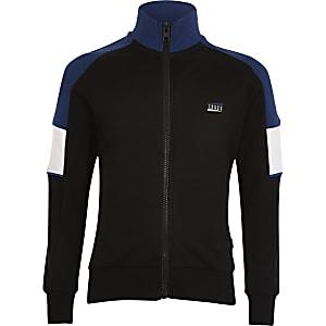 Jack and Jones - Zwarte sweater met kleurvlakken voor jongens