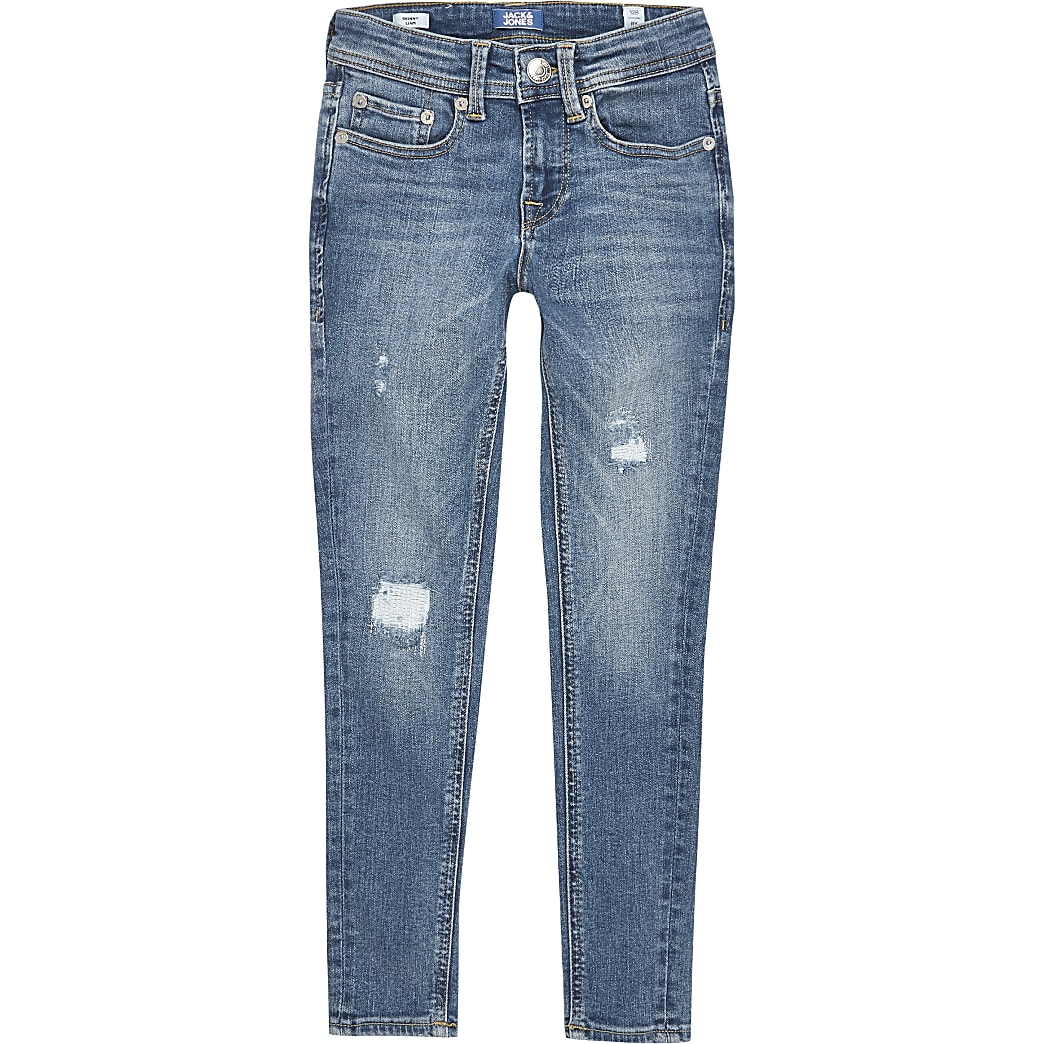 Jack and Jones - Blauwe ripped skinny jeans voor jongens