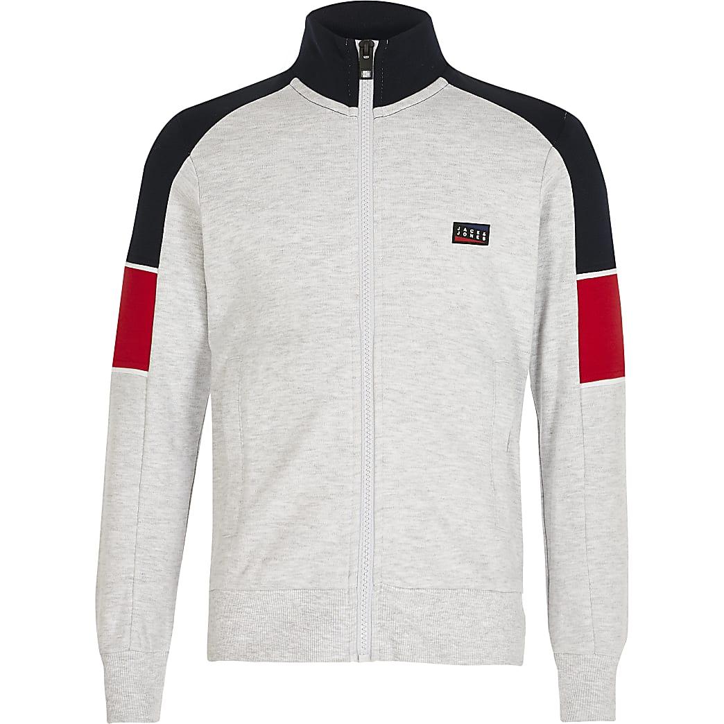 Jack and Jones - Grijze sweater met kleurvlakken voor jongens