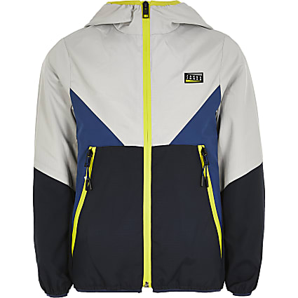 Boys Jack and Jones navy colour block jacket