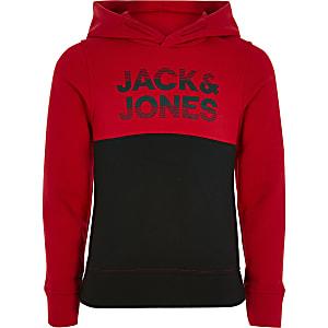 Jack & Jones – Roter Hoodie in Blockfarben