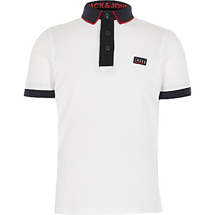 Boys Jack and Jones white blocked polo shirt