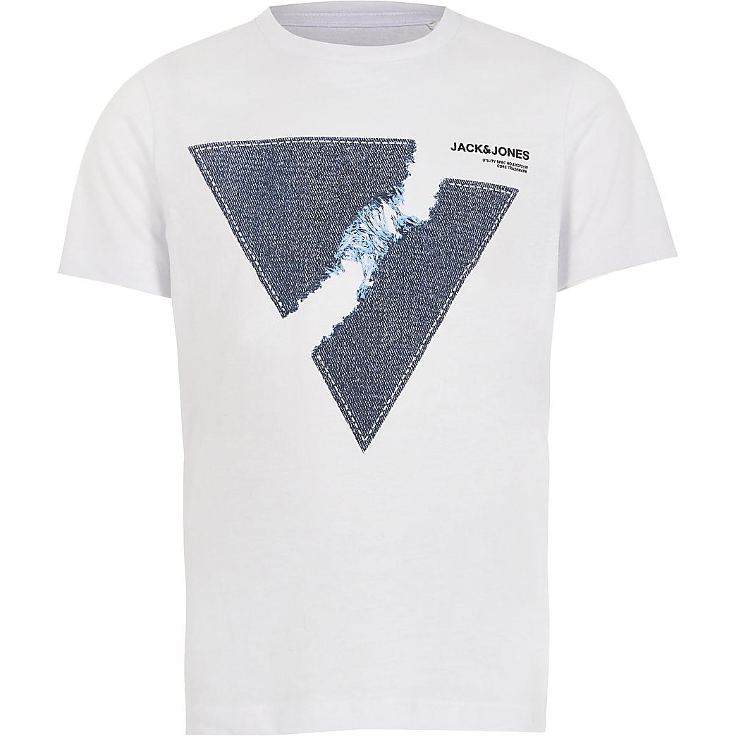 Boys Jack and Jones white printed T-shirt