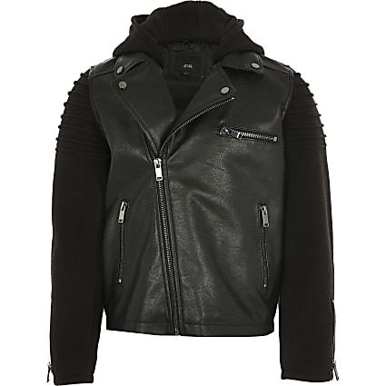 Boys jersey sleeve faux leather biker jacket