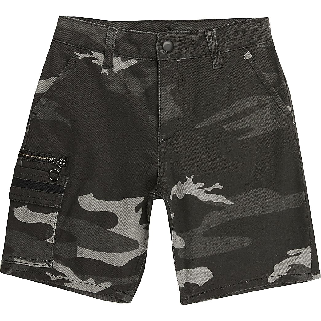 Kaki camouflage utility shorts voor jongens