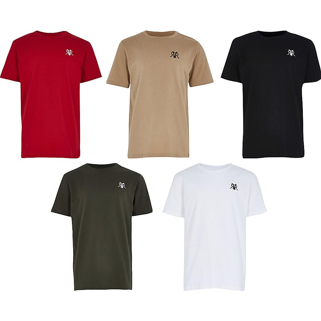 Boys khaki 5 pack plain t-shirts