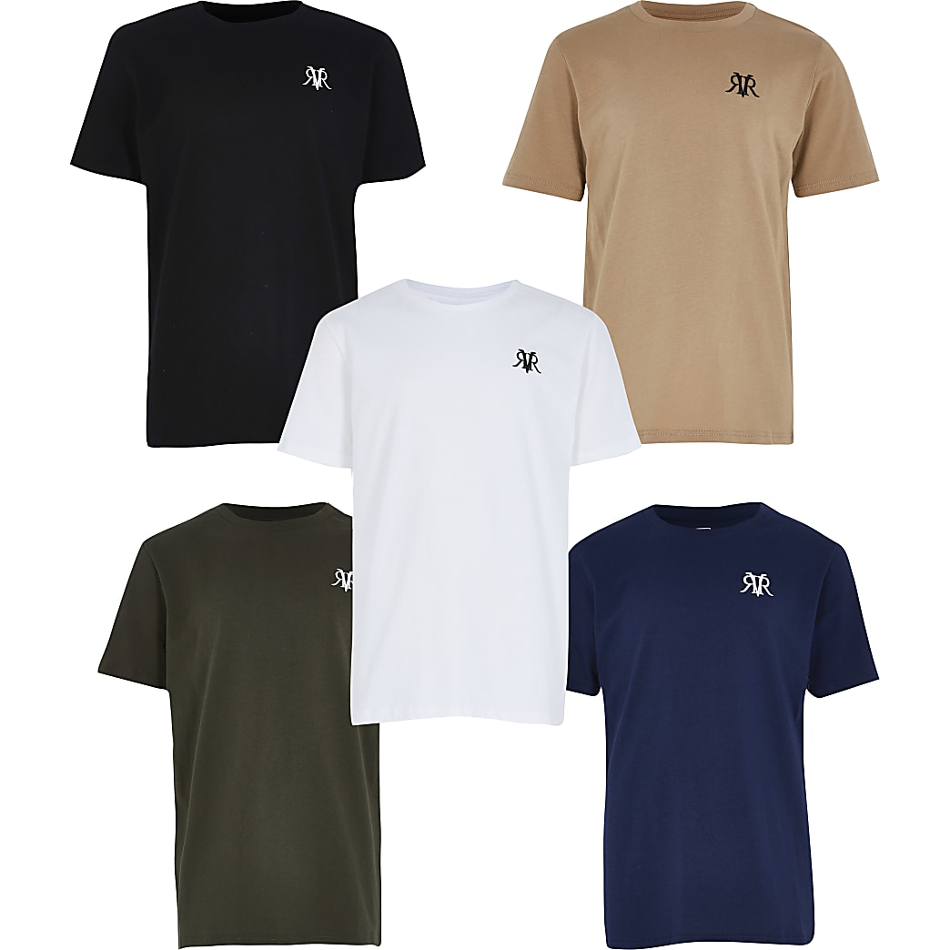 Boys khaki 5 pack t-shirt