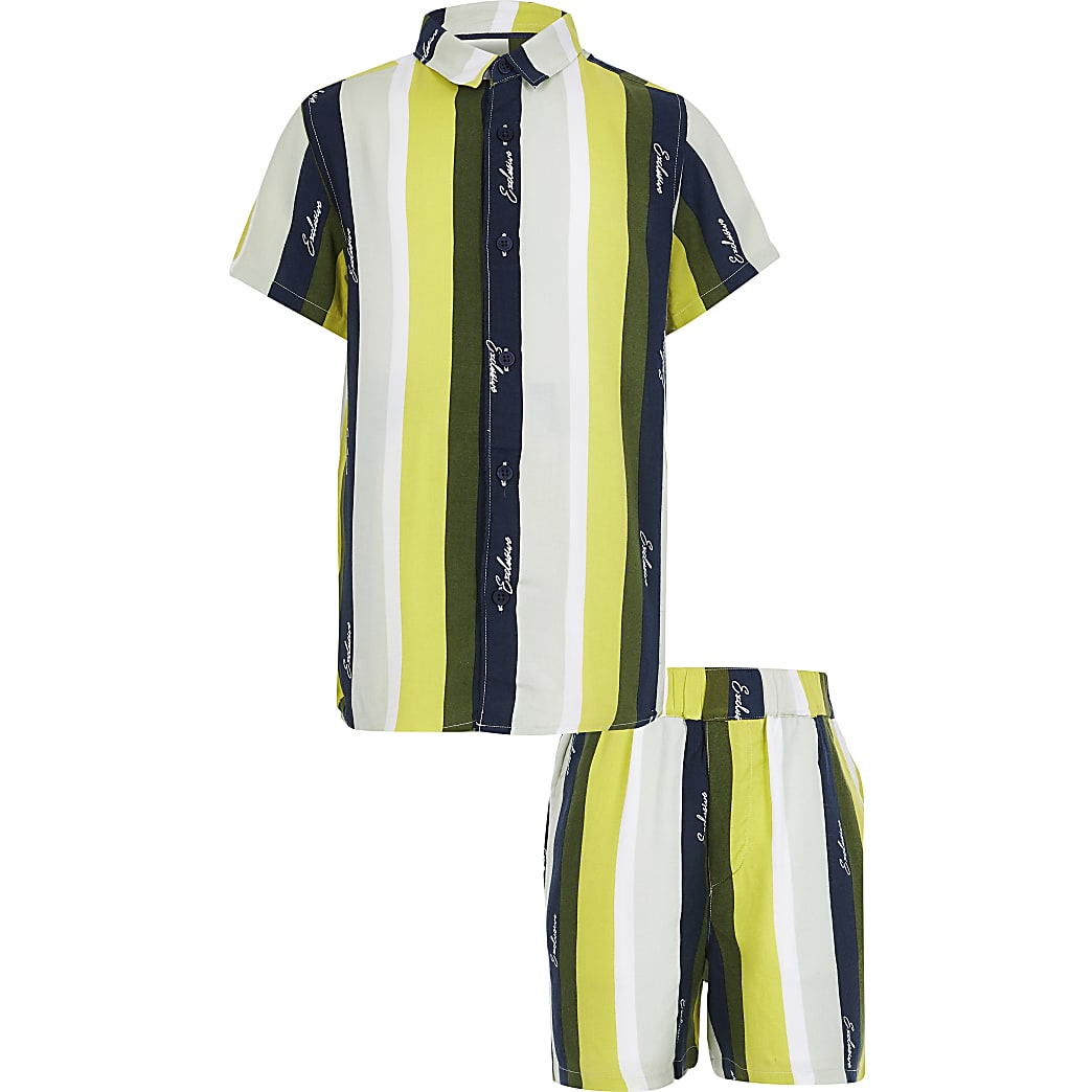 Boys khaki and lime stripe shirt outfit
