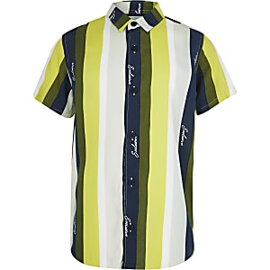 Boys khaki and lime stripe shirt